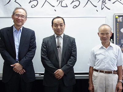 安部司さんと山下社長と堀田理事長